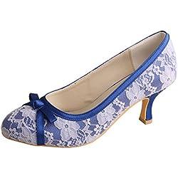 Wedopus , Damen Durchgängies Plateau Sandalen mit Keilabsatz , blau - blau - Größe: 40