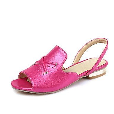 LvYuan Damen-Sandalen-Outddor Kleid Lässig-Kunstleder-Flacher Absatz-Komfort D'Orsay und Zweiteiler Leuchtende Sohlen-Rosa Silber Pfirsich Pink