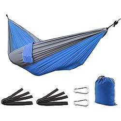 SueH Design Hamac Portable en Nylon Double Hamac Simple Léger Hamac de Parachute Hamac pour Camping, Randonnée, Voyage, Plage, Cour,Backpacking