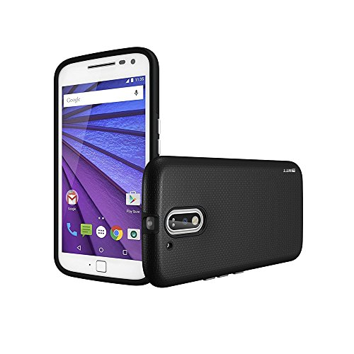 MTT Shock Absorption Dual Layer Rugged Frosted Armor Case Cover for Moto G4 Plus & G4 (Black)