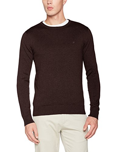 TOM TAILOR Herren Pullover Basic Crew-Neck Sweater, Violett (Galaxy Purple Melange 5728), XX-Large
