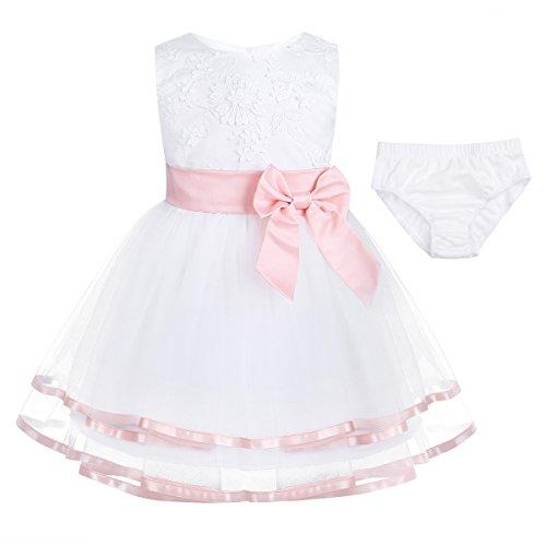 Freebily Baby Mädchen Kleid Taufekleid Kind Festliches Kleider Prinzessin Hochzeit 3D Blumenmädchenkleid mit Bloomers Kleinkind Kleidung 62 68 74 80 86 92 Perlen Pink 68-74/6-9 Monate
