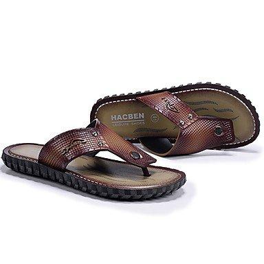 Slippers & amp da uomo;Slingback PU Estate casuale tacco grosso scuro, Castano scuro, US11 / EU44 sandali US10.5 / EU43 / UK9.5 / CN45