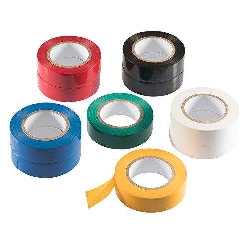Poppstar 10x 10m Universal Isolierband, PVC Dichtband und Klebeband (Dichtungsband zur Isolation - Reparatur von elektrischen Leitern) (Band 18mm breit), bunt (Elektrische Kabel-reparatur-set)