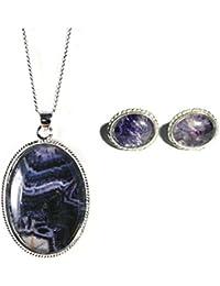 Silver / Blue John (Derbyshire) Elongated Oval Pendant & Chain MdwO4