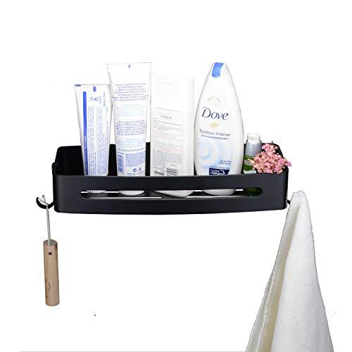 Leekayer Duschkorb Duschablage für Bad,mit Haken 32,3 cm Schwarz Eckregale für Badezimmer Aluminium