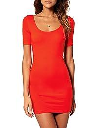 dae836615c70 Mini abito donna vestito corto aderente vestitino miniabito pizzo estivo  (314)
