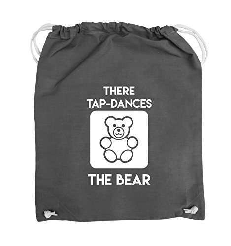 Comedy Bags - THERE TAP DANCES THE BEAR - Turnbeutel - 37x46cm - Farbe: Schwarz / Pink Dunkelgrau / Weiss