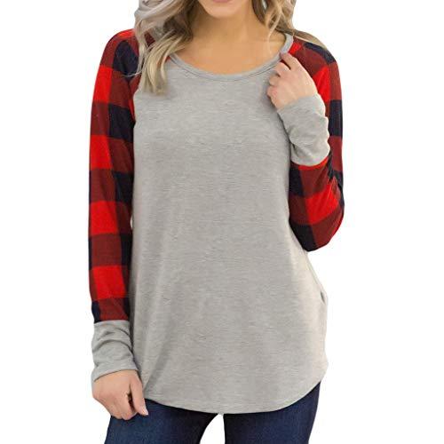 (GreatestPAK Damen Pullover Rundhalsausschnitt Karomuster Langarm Oberteil O-Neck Plus Größe Plaid Druck T-Shirt Bluse Tops,rot,S)