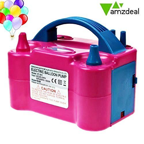 Amzdeal Luftballonpumpe elektrische 600W, Ballonpumpe mit automatik & halbautomatisch Modi und tragbare Ballons Pumpe für Geburtstagsfeiern, Party, Hochzeitsfeiern -