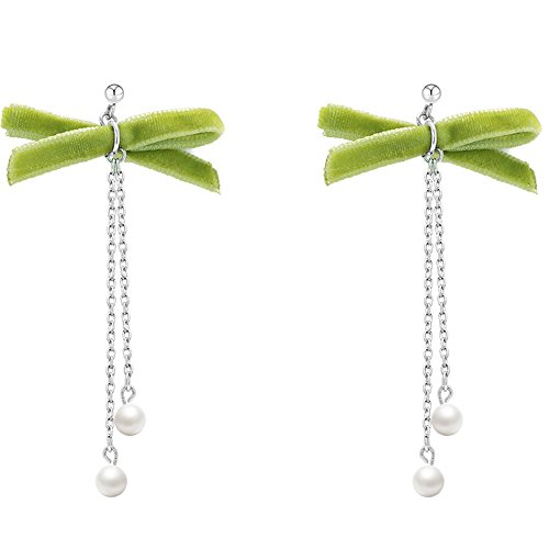 WANGLETA Ohrstecker Ohrhänger Geschenkidee für Frauen Präsident Silberschmuck Green Bow Tie Ohrringe personalisierte Ohr kabel Silber einfach anti-Allergie - Kabel Womens Tie