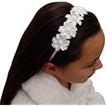Jessidress Corona de Comuniones Flores de Comunion Boda Tiara Diadema Cinta de Pelo Horquillas Perlas Lazo Clips Clips