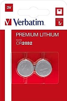 Verbatim Lithium-Knopfzellen CR2032- 2er Pack Knopfzellenbatterien für Fernbedienungen und weitere elektronische Geräte