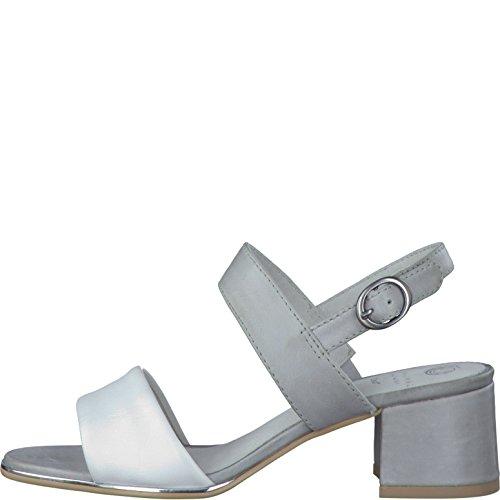 Damen Sandalette hellgrau Be Natural by Jana aus Leder von Größe 36 bis 40 Hellgrau