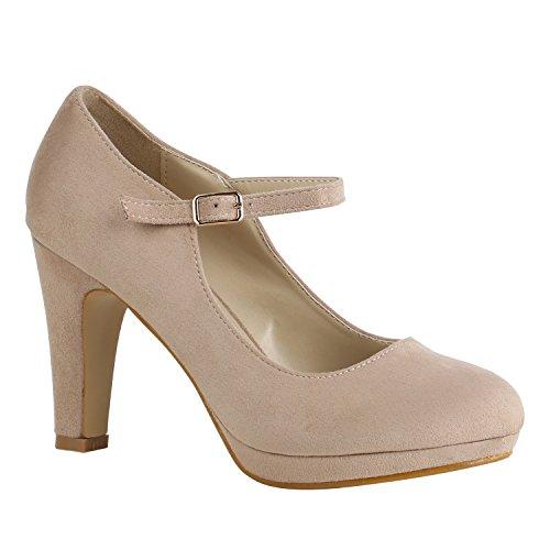Damen Schuhe Pumps T-Strap High Heels Riemchenpumps Stilettos 157205 Creme Berkley 36 Flandell