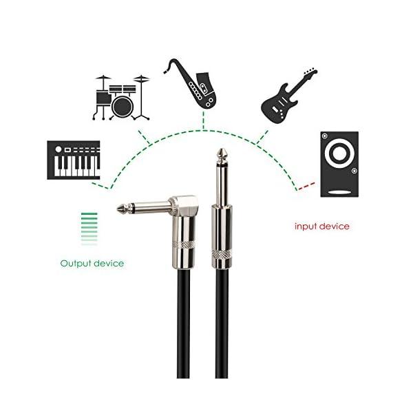 Mugig Cavo Effetto Noiseless per Strumenti Musicali da Jack 6.3mm a Jack 6.3mm con Connettore Angolare