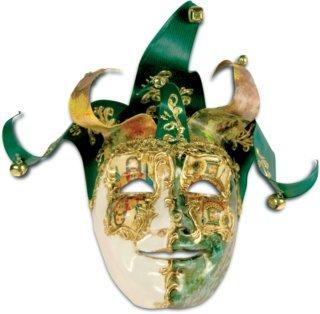 Jolly Carte Maschile verde bianco - Venezianische Maske (Commedia Dell'arte Colombina Kostüm)
