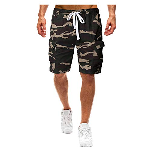 Cargo Shorts Herren Chino Kurze Hose Sommer Bermuda Sport Jogging Training Stretch Shorts Fitness Vintage Regular Fit Sweatpants Baumwolle Qmber Lässige lockere Tarnschnur Schwarz Khaki(AG,M) -