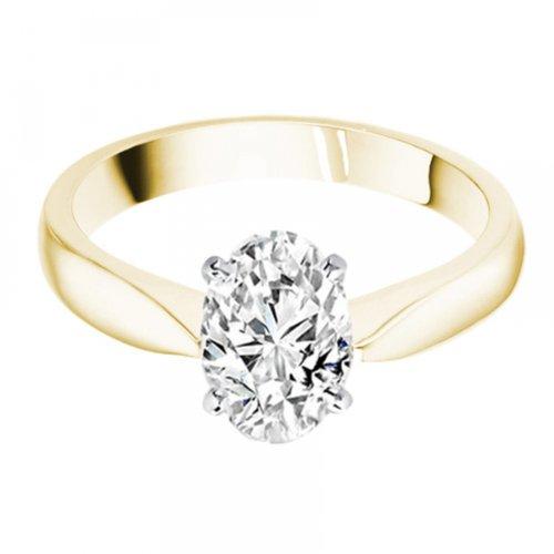 Diamond Manufacturers, Damen, Verlobungsring mit 0.25 Karat F/VVS1 feinem und zertifiziertem Ovaldiamant in 18k Gelbgold, Gr. 41 - 4