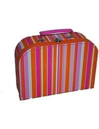 Kinderkoffer 22 cm - Klein - pink orange gestreift bunt - Puppenkoffer Koffer Kinder / ideal für Spielzeug und als Geldgeschenk - Streifen - Reisekoffer / Pappkoffer