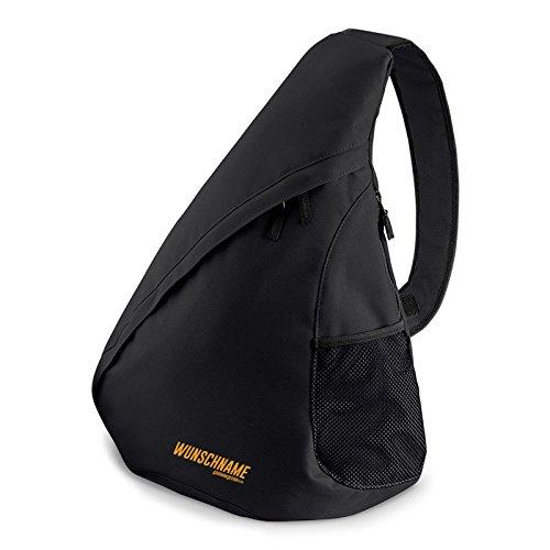 Personalisierter Rucksack dreieckig - Bequeme Bauchtasche - multifunktioneller Citybag mit individuellen Wunschnamen in schwarz :