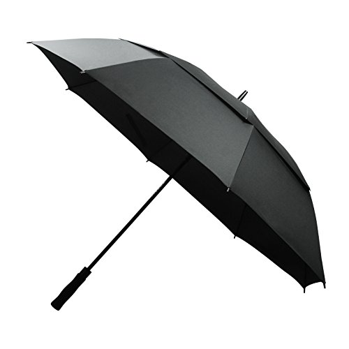 Becko Black 60-inch Supersized Automatic Opened & Manual Straight Handle Double-canopy 8 Bids Wind-proof Travel Rain Golf Umbrella