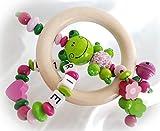Baby Greifling/Rassel mit Namen - Mädchen - Wunschnamen (Pink, Natur, Grün, Frosch)