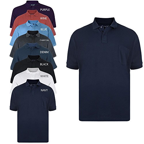 Kam new big mens king sizes basic plain polo neck t shirt for Polo shirts tall sizes