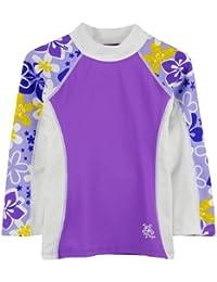 Diseño de chicas Tuga de luz ultravioleta de manga larga trajes de baño de la camiseta de manga corta de Costa 2-14 años UPF50 + (coral Rosa, diseño de orquídeas Morado, Morado o Rosita de color rosa)