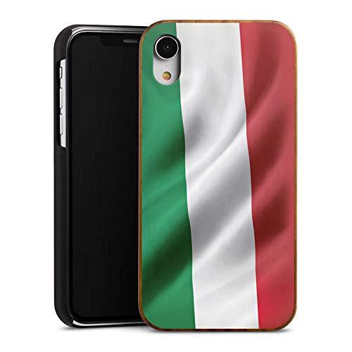 DeinDesign Holz Hülle kompatibel mit Apple iPhone Xr Wooden Case Echtholz Handyhülle Italien Flagge Italy Flag