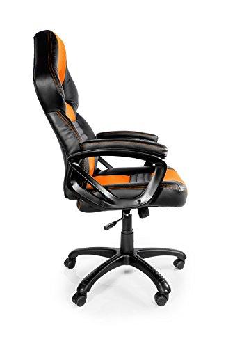 416X1SWDy L - Arozzi Monza Orange - Silla (Negro, 150 kg, 125 cm, 115 cm, 53 cm, 51 cm)