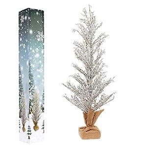 Shatchi 11860-CHRISTMAS-TREE-24 - Árbol de Navidad (funciona con pilas o USB, luz blanca cálida, 61 cm, con cristales), color verde