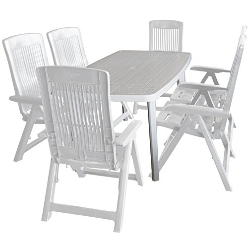 7tlg. Balkonmöbel Kunststoff Gartentisch 138x87cm 6x Klappsessel 5-fach verstellbar Weiß Sitzgruppe Sitzgarnitur