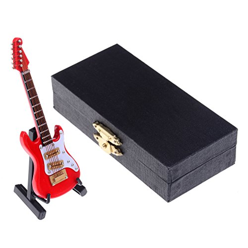 "DALU.A.F 3.94"" Miniature Guitar Replica - Mini Rock Electric Guitar Wooden Model Collectible Musical Instrument Models Artware Opening Gifts Home Decoration, with Stand Support and Case (Red)"