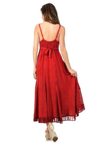 Sakkas Stein gewaschenen EmpireTaille Floral Reben Trompete Crepe Inlay  Kleid mit Rüschensaum Rot
