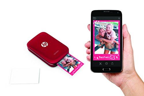 HP Sprocket- Impresora fotográfica portátil (impresión sin tinta,  Bluetooth,  5x 7.6cm impresiones) color rojo