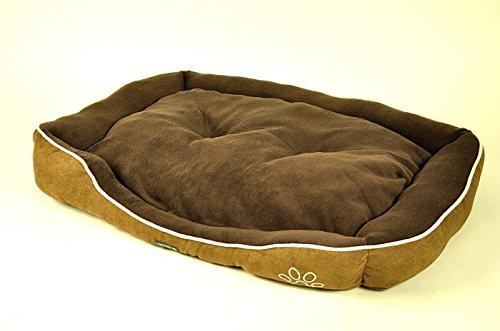 nanook Hundebett XL Alec 90 x 65 cm braun/oliv pflegeleicht und kuschelweich
