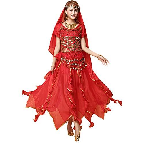 Tanz Kostüm Indien - Zhhlaixing Damen Elegant Chiffon Bauchtanz Kostüm Set - Rundhals Atmungsaktiv Indien Tanz Outfit Karnevalskostüm