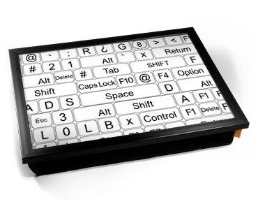 Keyboard Keys White Cushion Lap Tray Kissen Tablett Knietablett Kissentablett