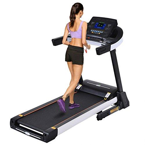 mymotto Fitness Tapis Roulant 3.0hp tretmuehle elettrico con sistema di ammortizzazione a 4Zone Display LCD Allenamento Cardio 16km/H corsa endes Tapis Roulant, Grau