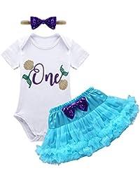 iiniim Bebé Recién Nacida Niña Primer Cumpleaño Pelele Algodón+ Falda + Bowknot Diadema Vestido Princesa Falda