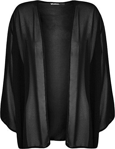 WearAll - Übergröße Damen Plain Offene Kimono Cardigan Top - Schwarz - 48-50