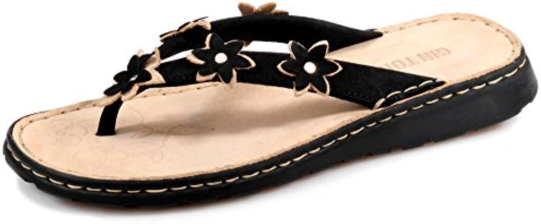 Gebrüder Götz 3643 Damen Pantolette Nubukleder Lederblüten Lederfußbett flexible Laufsohle Groesse 31 schwarz