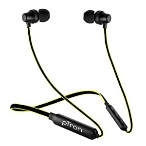 pTron Tangent Lite Bluetooth 5.0 Wireless Headphones with Hi-Fi Stereo Sound, 8Hrs Playtime, Lightweight Ergonomic Neckband, Sweat-Resistant Magnetic Earbuds, Voice Assistant & Mic - (Black & Yellow)