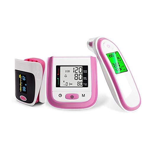 Oximeter,Family Health Equipment Set, LED Finger Pulsoximeter und Handgelenk Blutdruckmessgerät und Ohr-Infrarot-Thermometer zu Hause, für Kinder, ältere Menschen, Schwangere Frauen Familie,Rosa