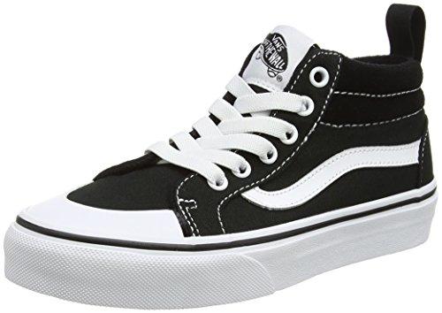 Vans Jungen UY Racer Mid Hohe Sneakers, Schwarz (Canvas Black/True White), 32 EU (Black Kids Vans)