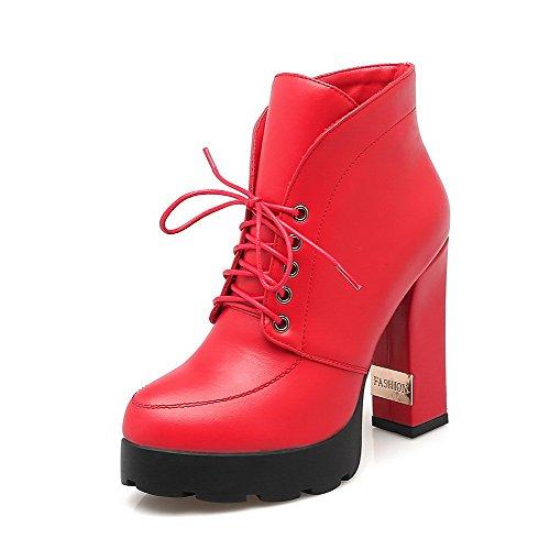 AllhqFashion Damen Schnüren Rund Zehe Hoher Absatz Knöchel Hohe Stiefel mit Metalldekoration Rot