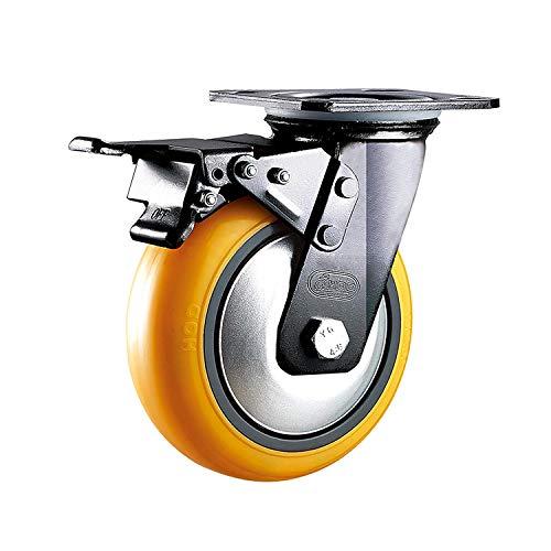 Pandady Lenkrollen Universal-Lenkrad- / Bremslager-Schwerlast-Industrierollen, Polyurethan-Laufkatze Textilausrüstung (100 Mm / 125 Mm, Schwarz) 2 Stck,Brake,100mm -