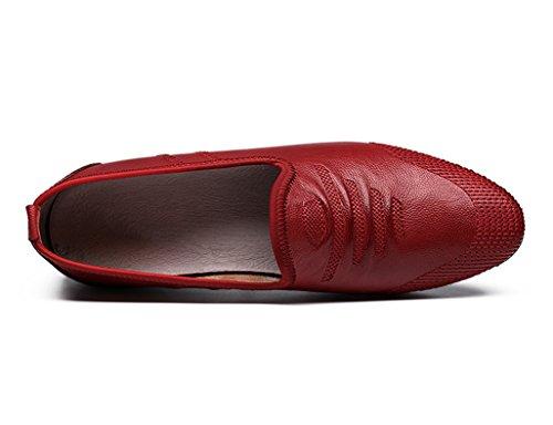 Scarpe Uomo in Pelle Scarpe da uomo Scarpe da ginnastica giornaliere traspiranti ( Colore : Vino rosso , dimensioni : EU43/UK8 ) Vino Rosso