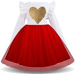 Xmiral Bebés Niñas Vestido de Tutú Lentejuelas Brillo Princesa Traje para Ceremonia con Flor Elegante para Boda Cumpleaños (Rojo,3-4 Años)